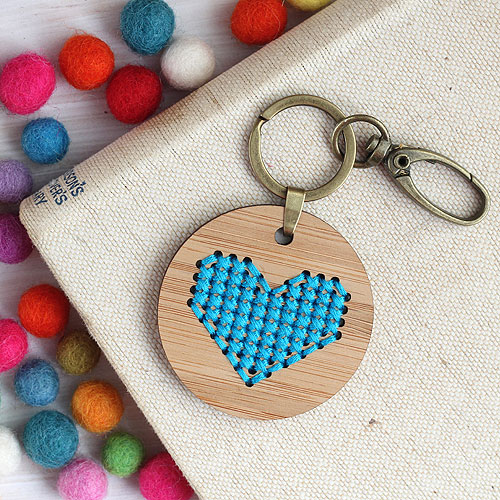 Clementine And Thread Embroidery Kit - Blue Heart Keyring
