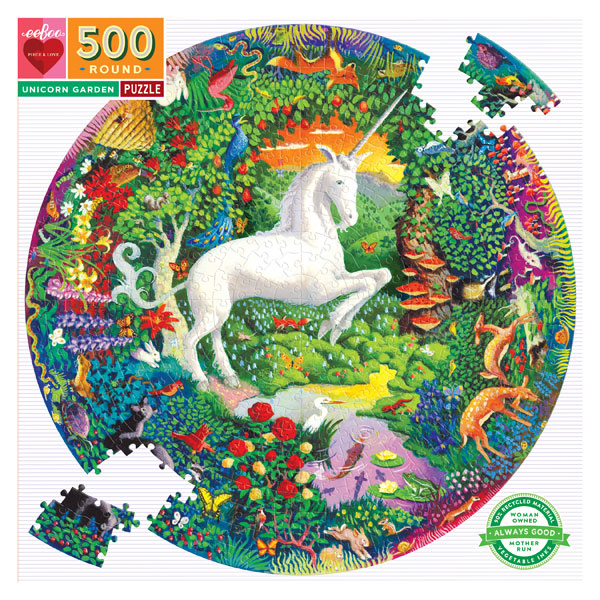 eeBoo Round Puzzle - Unicorn (500 Pieces, 12+ yrs)