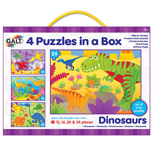 Galt Four Puzzles In A Box - Dinousaurs (3+ yrs)