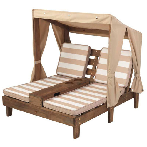 KidKraft Double Chaise Lounge with Cup holders - Espresso Oatmeal colour (3-5 years)