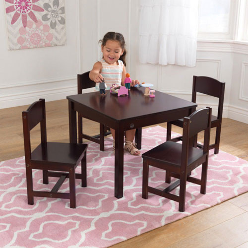 KidKraft Farmhouse Kids Table and 4 Chair Set - Espresso (3+ years)