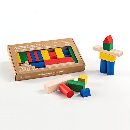 Milaniwood Colour Building Blocks - 30 Pieces Set (3+ yrs)