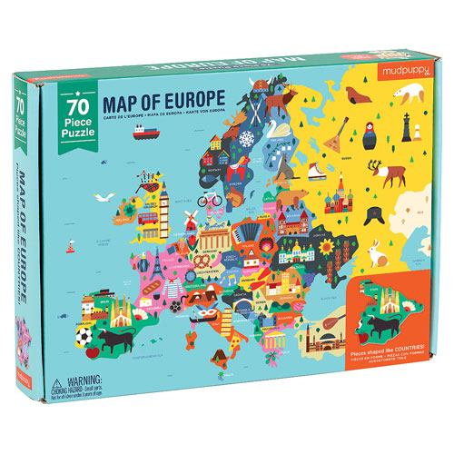 Mudpuppy Geography Puzzle - Europe (70 pieces, 5+ yrs)