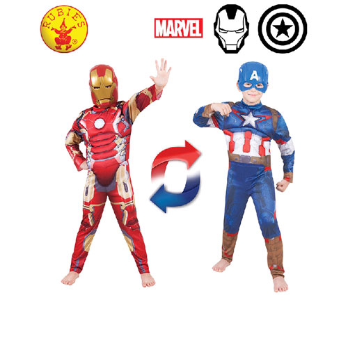 Marvel Ironman / Captain America Reversible Deluxe Child Costume - Size 4-6 (4 to 6 years)