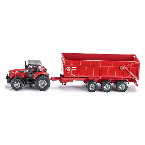 SIKU Diecast Farm Vehicle - Massey Ferguson Tractor with Trailer (1:87 Scale)