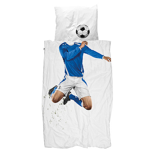 Snurk Bed Quilt Cover Set - Soccer Champ Blue (King Single)