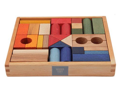 Rainbow Wooden Blocks by Wooden Story (30 pieces)