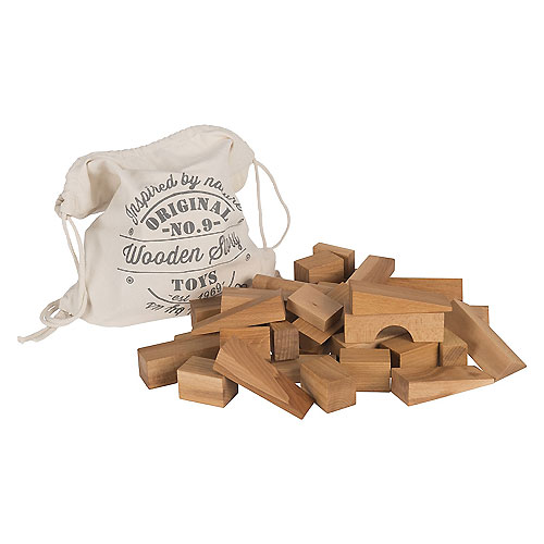 Wooden XL Size Natural Building Blocks in Cotton Sack by Wooden Story (50 pieces)