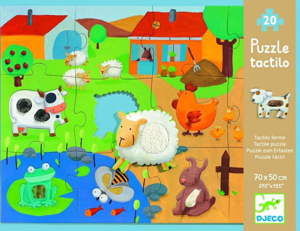 Tactile Puzzle - Farm (20 pieces, 3-5 yrs)