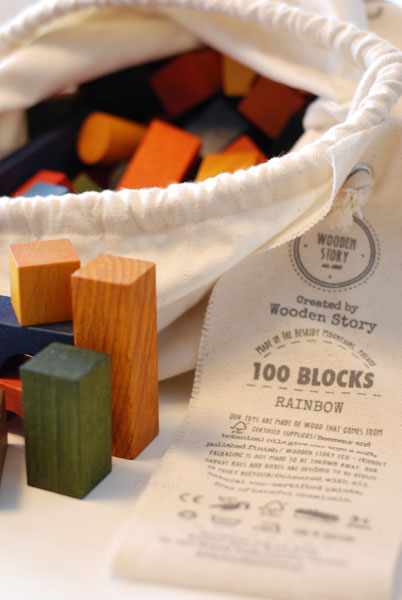 Wooden Rainbow Building Blocks in Cotton Sack by Wooden Story (100 pieces)