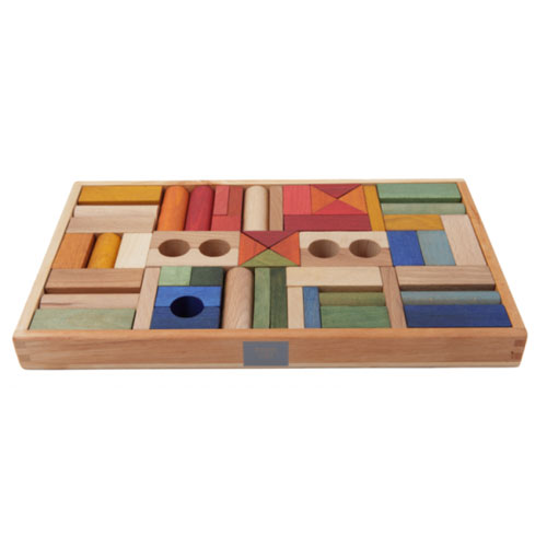 Rainbow Wooden Blocks by Wooden Story (54 pieces)