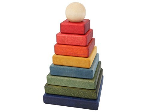 Rainbow Pyramid Stacker Wooden Blocks by Wooden Story